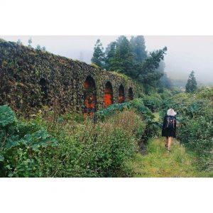 An old roman aqueduct aqueduct foggy saomiguel azores azoren portugalhellip