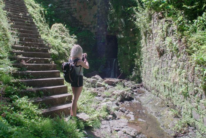 Moinhos waterfall waterval aroundsan são miguel azoren azores